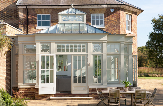 Contemporary garden room with two tier roof lantern