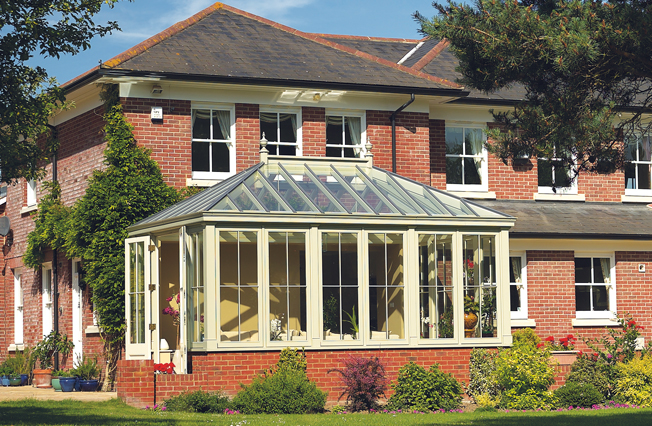 Garden room with pitched glazed roof