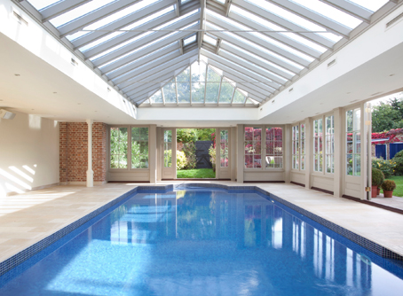 View Of Pool House Interior At Deep End Of Pool With Roof Lantern Overhead