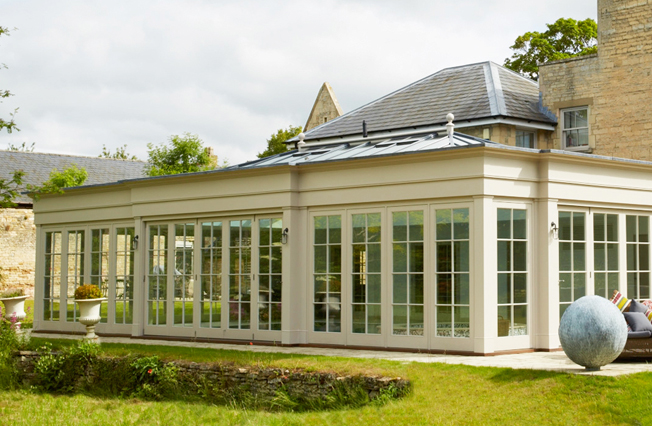 Large pool house extension with rectangular rook lantern
