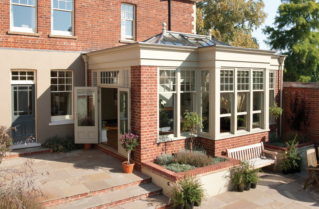 Orangery with french doors leading out from the side