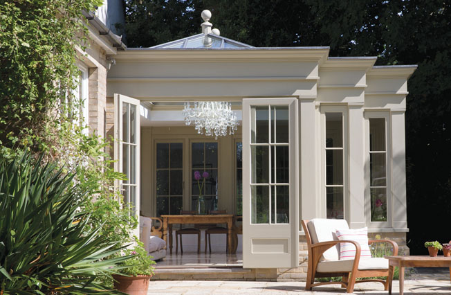 Stunning orangery design featuring pilasters and cornice detail