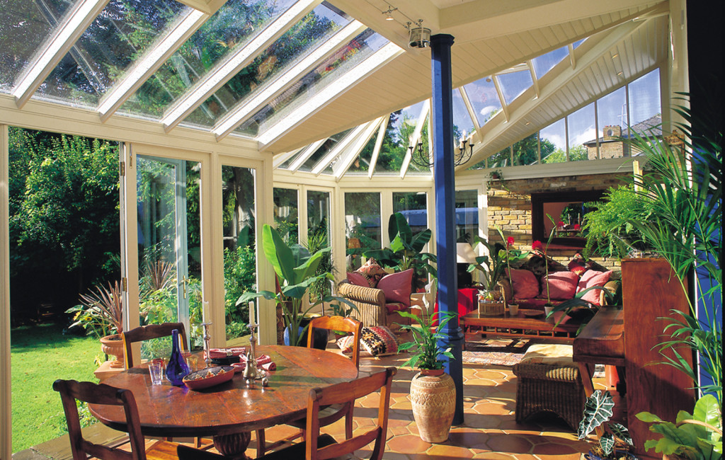 Stunning interior of a conservatory with wonderful views into the garden