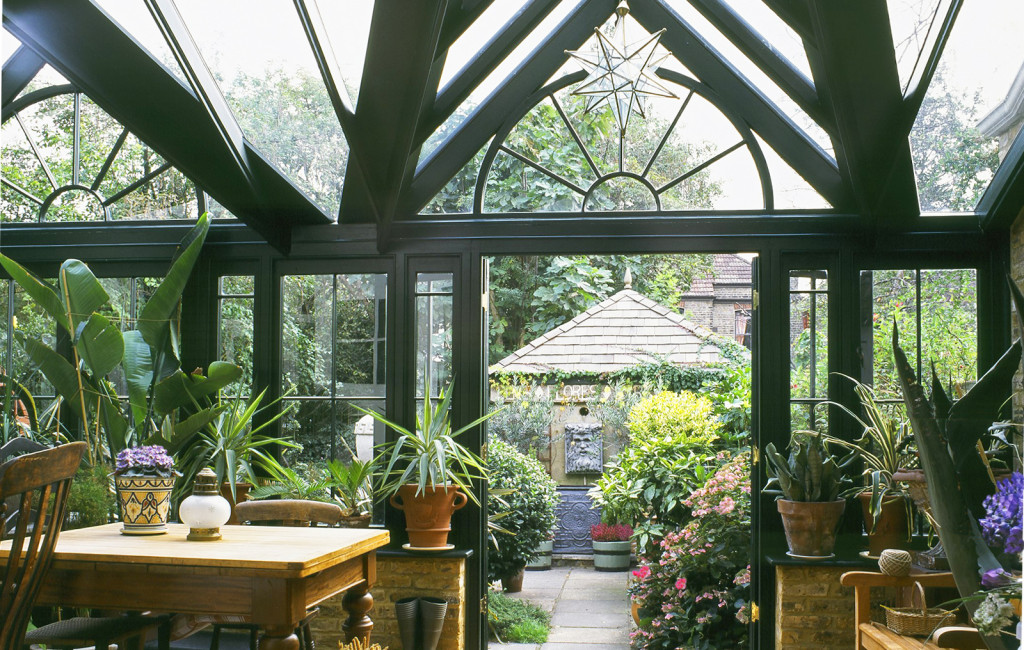 View inside a twin gabled conservatory with beautiful detailing