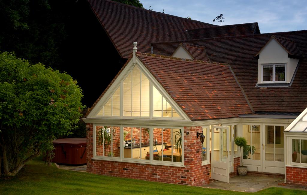 A sensational example a gable ended garden room taken at dusk