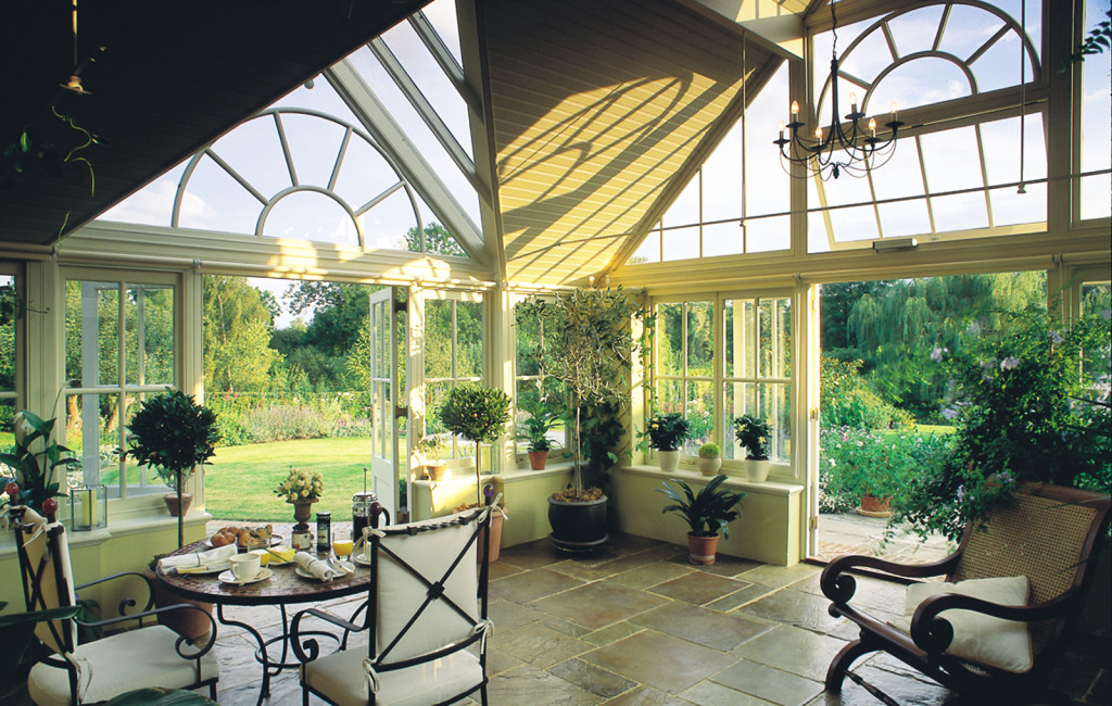 Interior of a garden room highlighting the spectacular height and volume achieved by the design