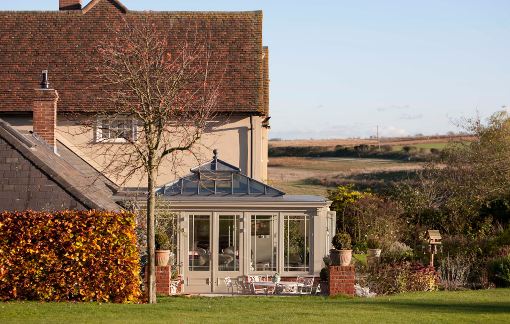 View of a spectacular orangery build by Westbury Garden Rooms