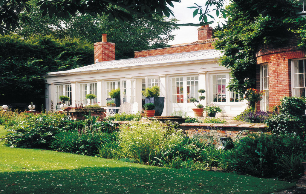 Orangery by Westbury featuring strong architectural detailing to the long elevation