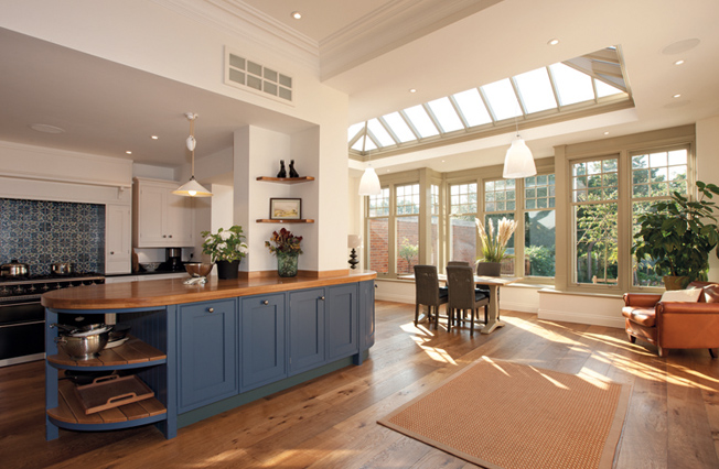 Large open plan kitchen and dining area with roof lantern
