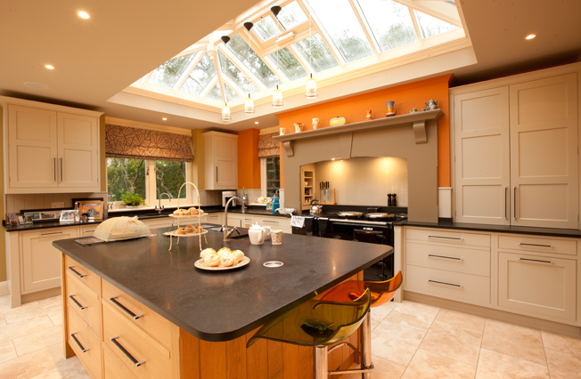 Autumn coloured kitchen extension with large roof lantern