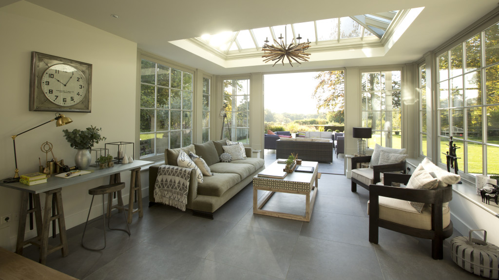New open plan living area in new garden room extension