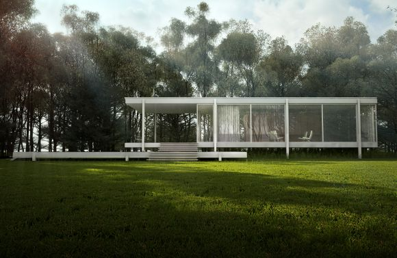 Side view of Farnsworth House showing full glass walls