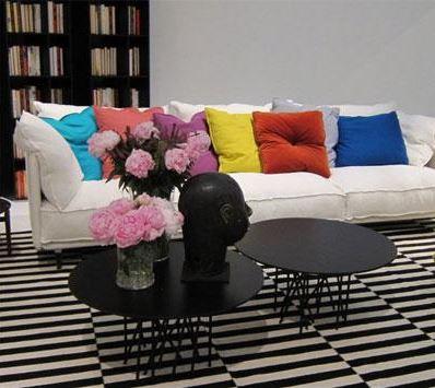 Multi coloured cushions