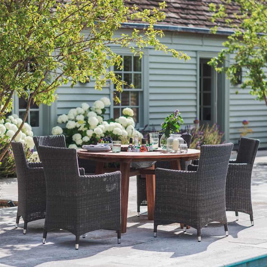 Modish Living - Round Outdoor Reclaimed Teak Dining Set