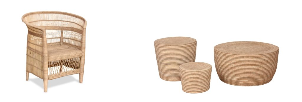 Natural chair and nesting tables - Okapi Home