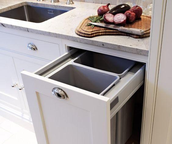 Hidden rubbish bin the kitchen