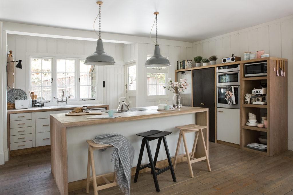 Scandi-style kitchen with island seating