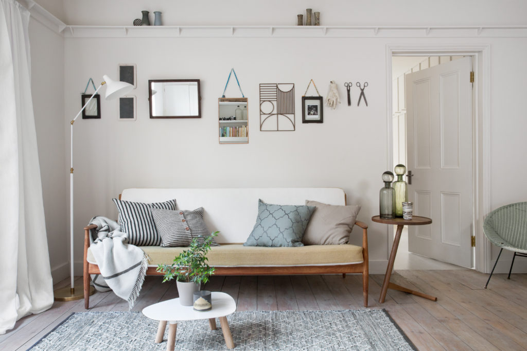 Scandinavian inspired living room with rug