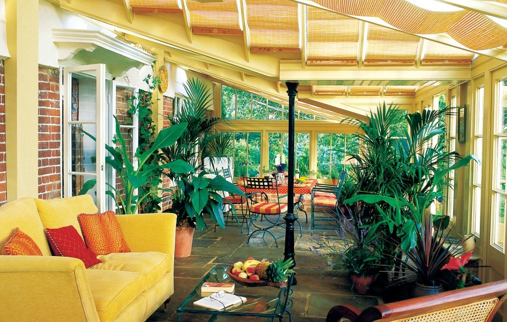 garden room with plants and comfortable seating