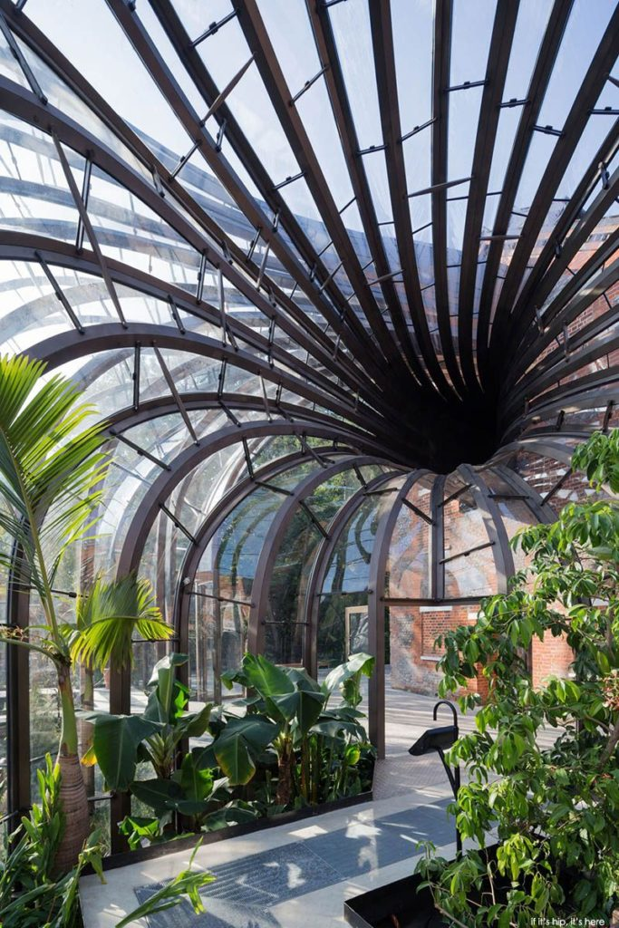 Inside the glazed building at the Bombay Sapphire Distillery