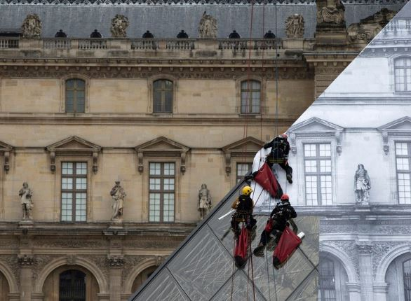 The Louvre being covered