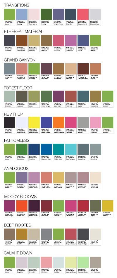 Pantone colour palettes