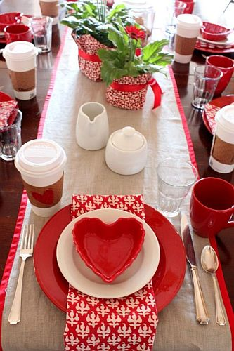 Valentine's table setting with red plates