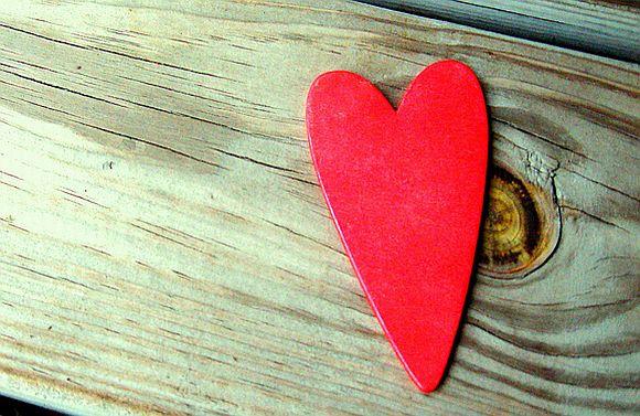 Valentines heart on wooden background