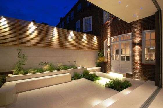 Outside lighting creating zones
