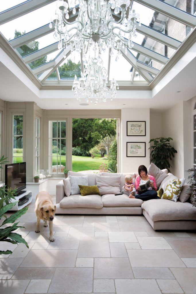 Relaxing in an extension with a roof lantern