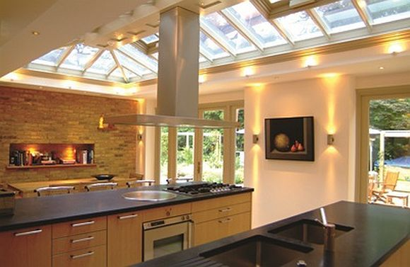 Roof lantern in a spacious kitchen