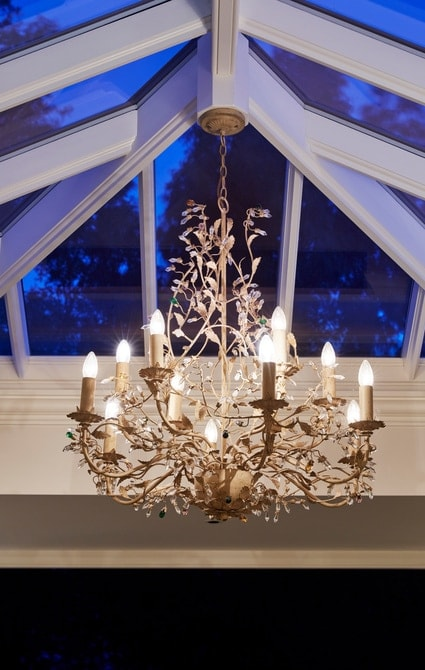 Chandelier handing from centre of roof lantern