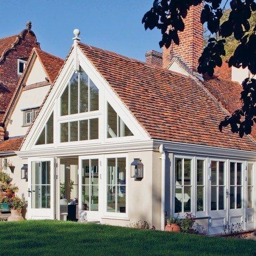 External shot of Garden Room Extension large glazed gable with peg tile roof