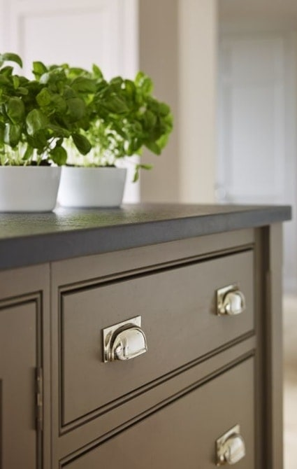 Kitchen cabinets with plants on top