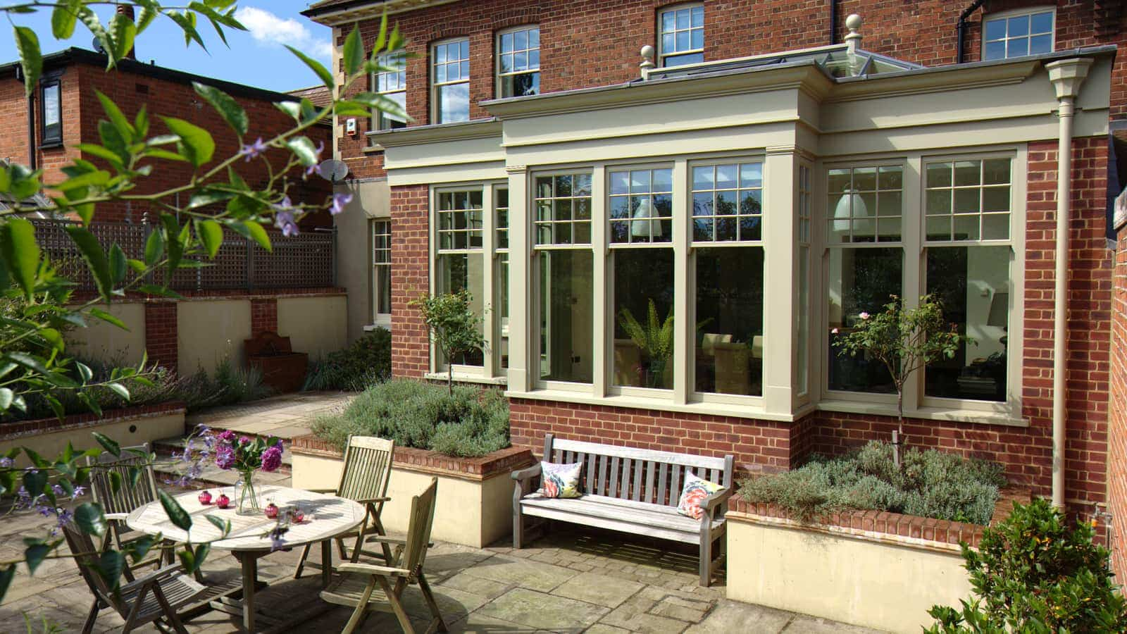 Uniquely shaped orangery with a beautiful symmetrical look aesthetically pleasing from both inside and out