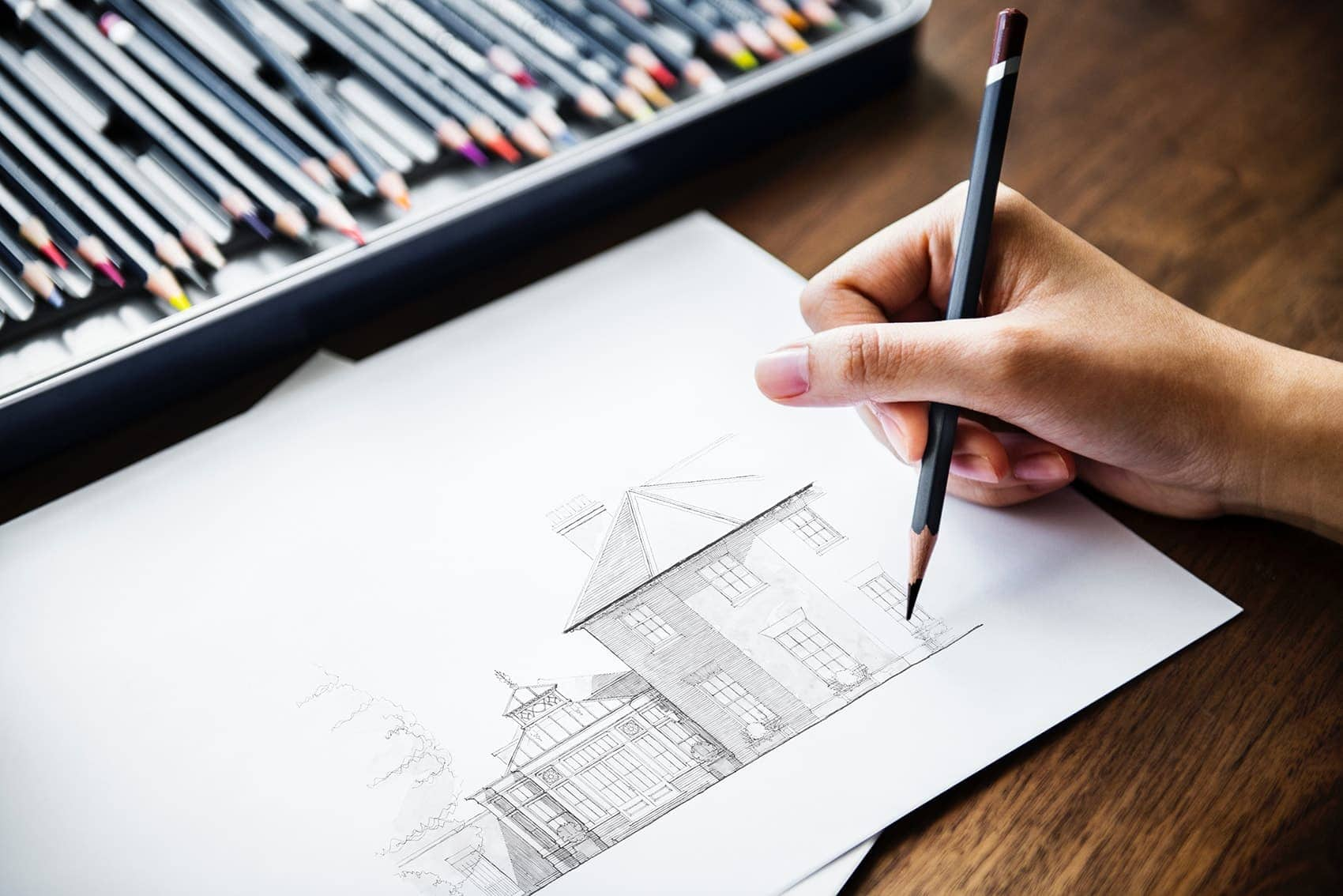 Designer finishing off a drawing