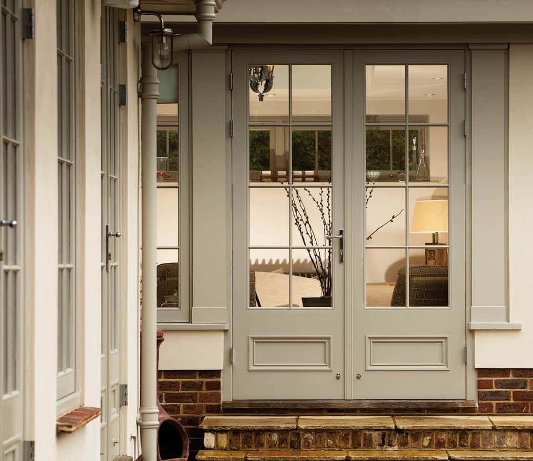 Close up of french doors of orangery