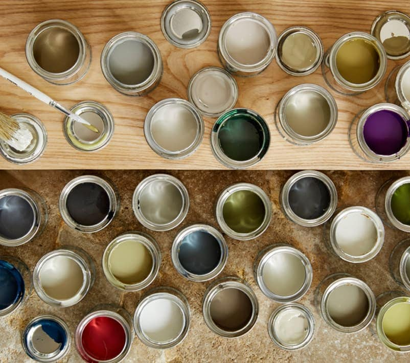 Pots of different coloured paints
