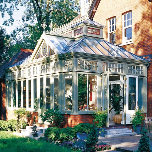 Traditional conservatory with glazed gable