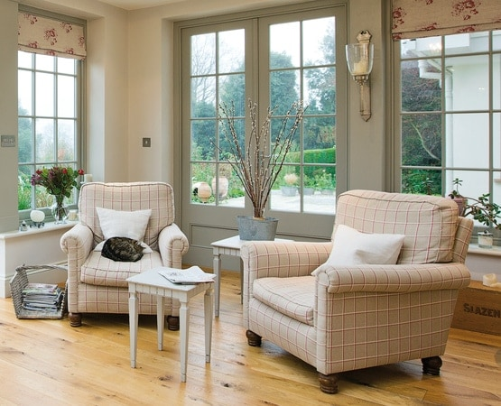 Cosy seating area inside orangery