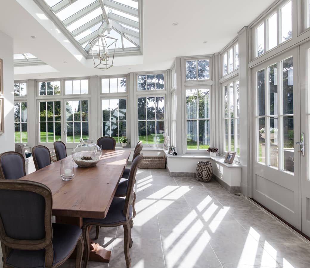 Dining area situated in new orangery space