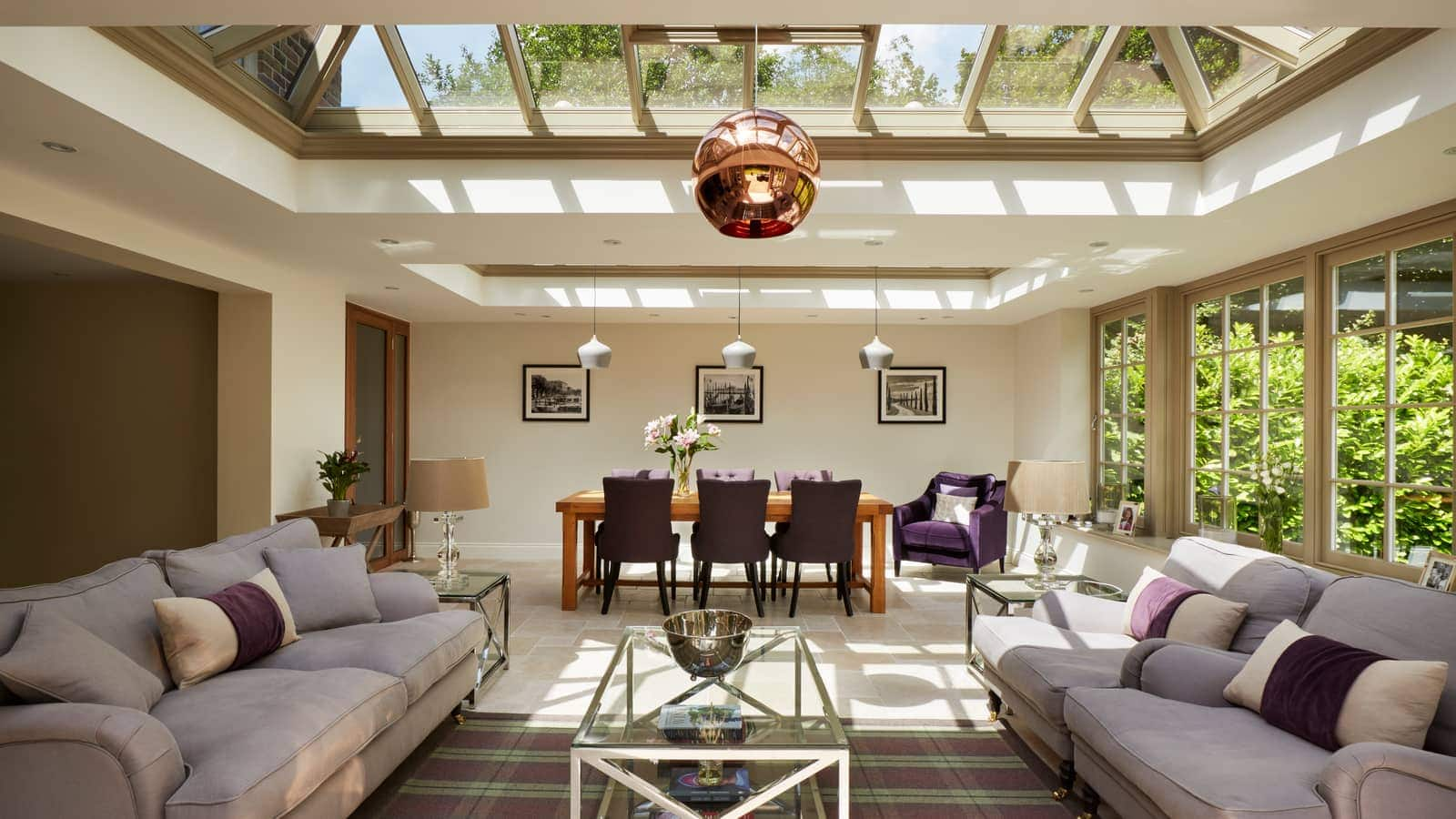 Orangery housing a formal dining area and comfortable sitting room area