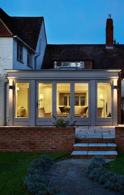 Exterior view of orangery extension in the evening