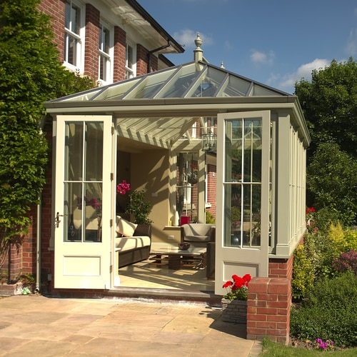 Georgian style fully glazed conservatory, with one pair of double doors opening outwards