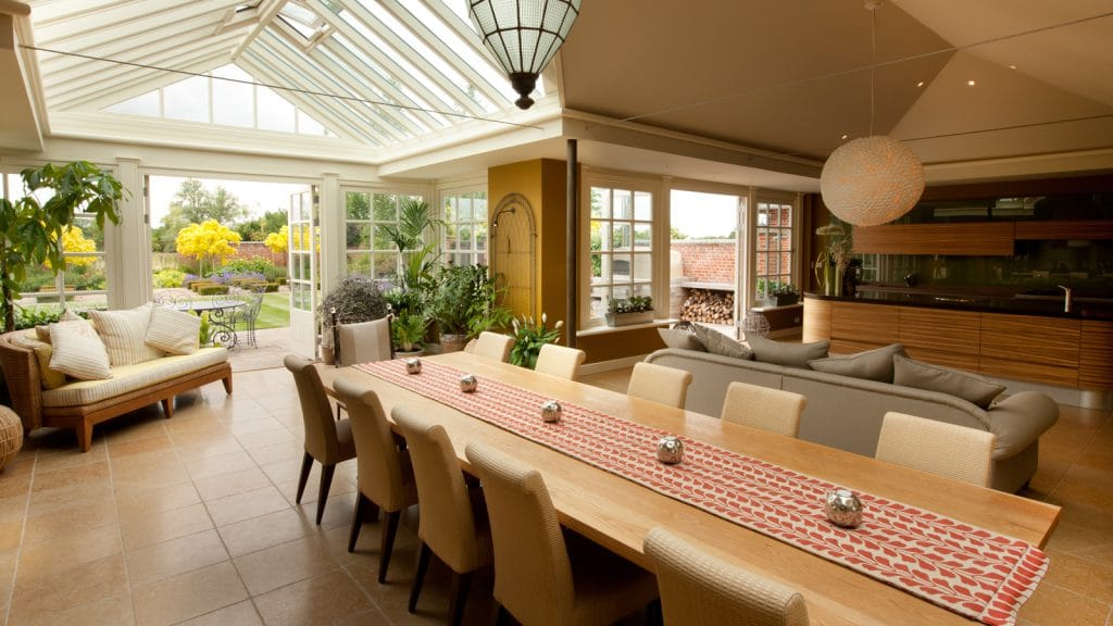 Garden rom with large glazed gable enabling light to fill the room