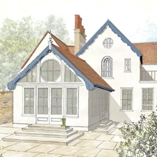 Garden room water colour design drawing