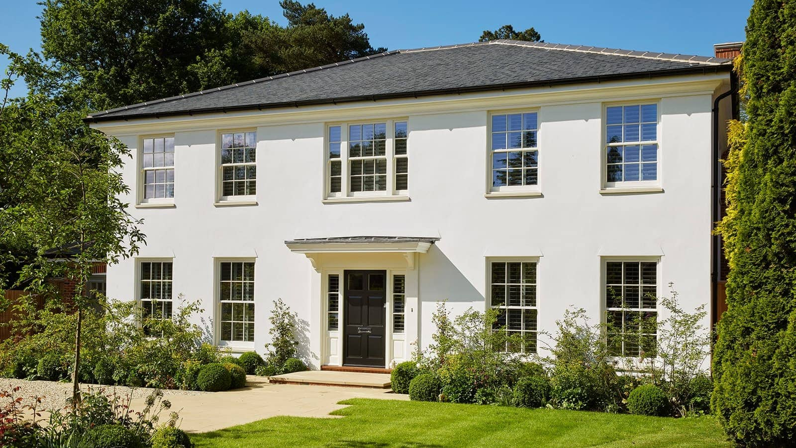 Georgian style new build property with legacy sliding sash windows