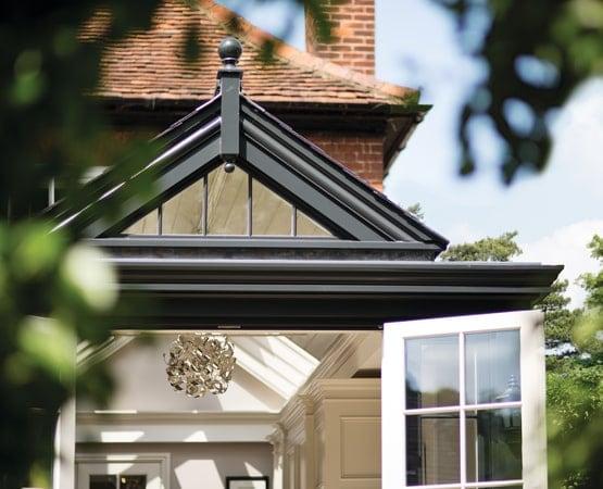 Close up of glazed gable in Westbury black