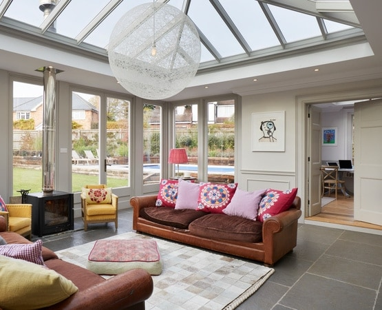Internal shot of lounge furniture inside orangery extension