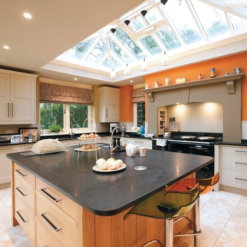 Large open plan kitchen extension with kitchen island